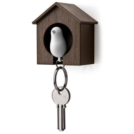 Nøkkelring  Fugl med brun fuglekasse