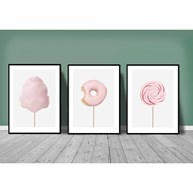 Poster - Lollipop, Cotton Candy, Donut